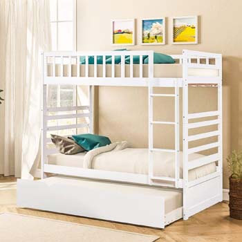 7. Merax Twin Over Twin Bunk Bed for Kids Bunk Beds with Trundle Solid Wood Bunk Beds