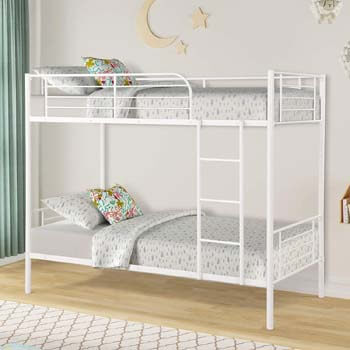 9. Twin Over Twin Metal Bunk Beds, Rockjame Space Saving Design Sleeping Bedroom Bunk Bed with Ladder and Safety Rail