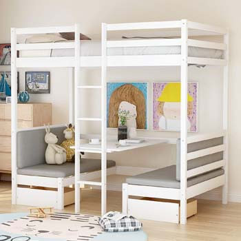 2. Convertible loft Bed, Twin Wood loft Bed with Storage Drawers and Desk