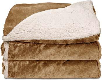 5. Sunbeam Heated Throw Blanket | Reversible Sherpa/Royal Mink, 3 Heat Settings