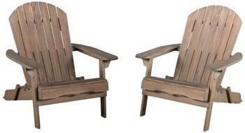 6. Christopher Knight Home Grey Finish Wood Adirondack Chairs