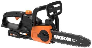 5. Worx WG322 20V Power Share Cordless 10-inch Chainsaw with Auto-Tension
