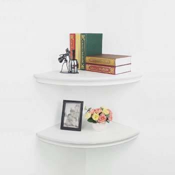 7. Set of 2 Large Classic Radial Corner Wall Shelf Corner Shelves MDF Floating Shelving Approx 17