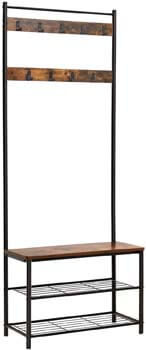 3. VASAGLE Industrial Coat Rack, Hall Tree Entryway Shoe Bench