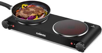 2. Cusimax Portable Electric Stove - 1800W Infrared Double Burner