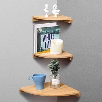 5. Yankario Corner Wall Shelf Set of 3, Solid Beech Wood Floating Shelves Wall Mounted, Natural