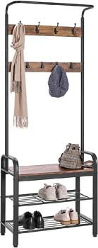 9. VIVOHOME 3-in-1 Entryway Hall Tree, Heavy Duty MDF Stand Coat Rack with Storage Bench