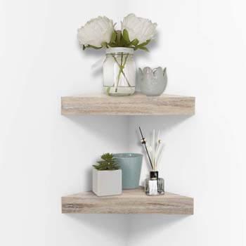 6. AHDECOR White Corner Wall Shelves, Wall Mounted Floating Corner Shelf for Home Décor