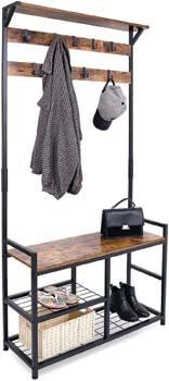 4. HOMEKOKO Coat Rack Shoe Bench, Hall Tree Entryway Storage Bench