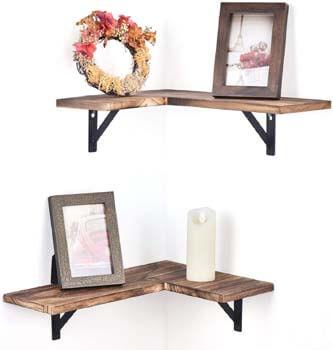 2. Olakee Corner Wall Shelves Rustic Wood Corner Floating Shelves for Bedroom Living Room Bathroom Kitchen Set of 2 Carbonized Black