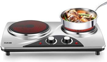 4. CUKOR Electric Hot Plate Stove - Infrared Double Burner