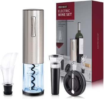 1. EZBASICS Electric Wine Bottle Opener kit Rechargeable Automatic Corkscrew
